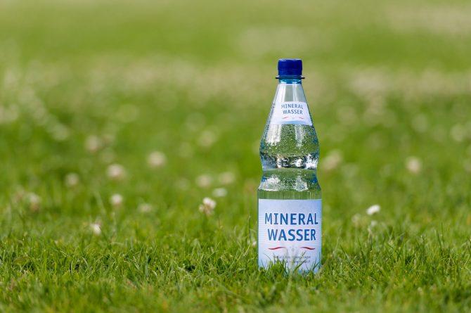 Mehrwegflasche im Gras